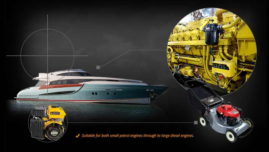 Yacht and mower with engines graphic